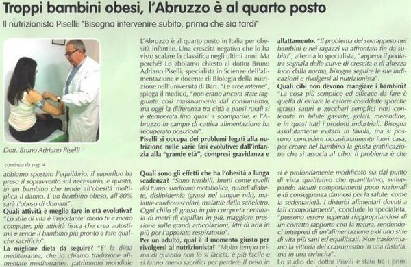 Troppi bambini obesi, l'Abruzzo è al quarto posto